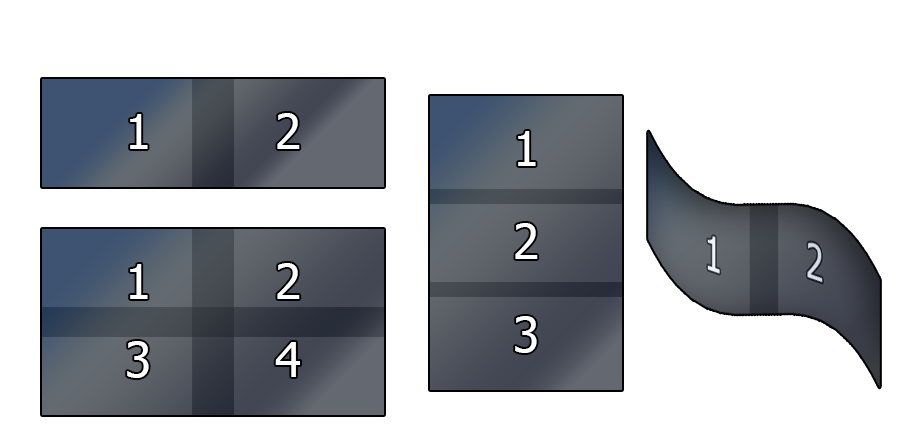A few examples of possible projetor configurations